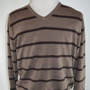J. Crew Men's V-Neck Brown Striped Sweater Size XL
